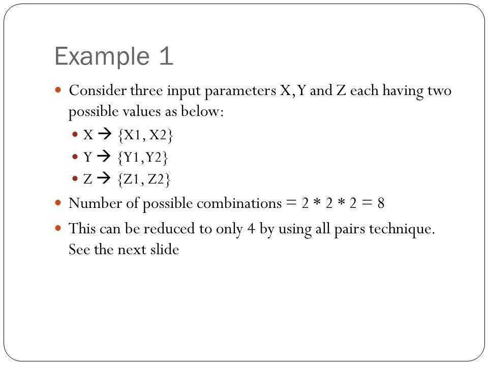 Example 1 (continued) XYZ X1Y1Z1 X1Y1Z2 X1Y2Z1 X1Y2Z2 X2Y1Z1 X2Y1Z2 X2Y2Z1 X2Y2Z2 XYZ X1Y1Z1 X1Y2Z2 X2Y2Z1 X2Y1Z2