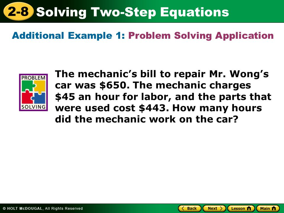 2-8 Solving Two-Step Equations 2.Solve 3r + 46 = –29.