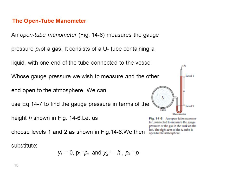 16 An open-tube manometer (Fig. 14-6) measures the gauge pressure p g of a gas. It consists of a U- tube containing a liquid, with one end of the tube