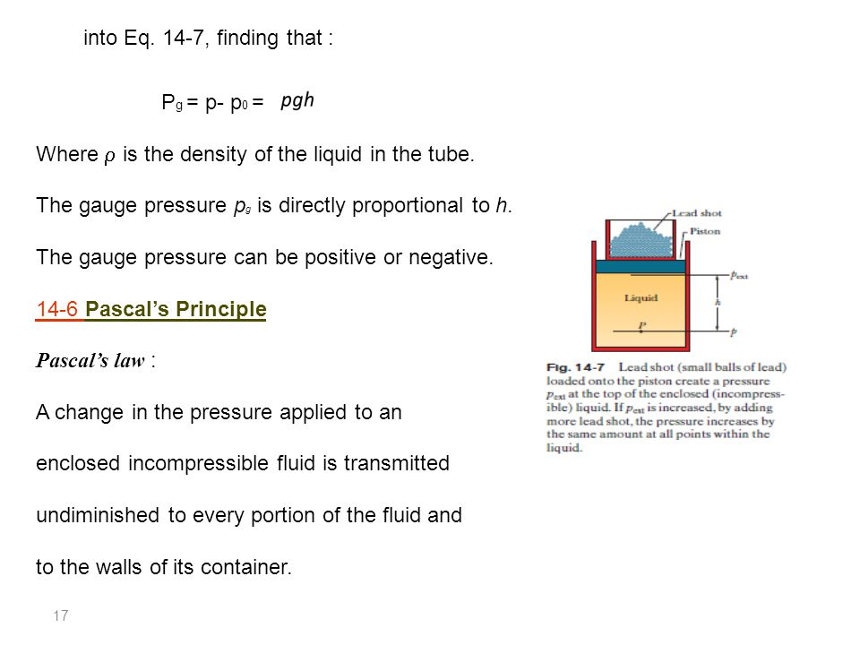 17 P g = p- p 0 = Where  is the density of the liquid in the tube. The gauge pressure p g is directly proportional to h. The gauge pressure can be po