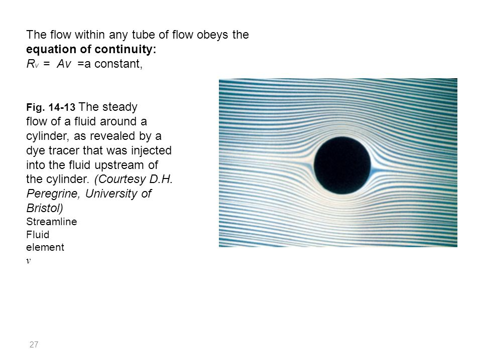 27 The flow within any tube of flow obeys the equation of continuity: R V = Av =a constant, Fig. 14-13 The steady flow of a fluid around a cylinder, a
