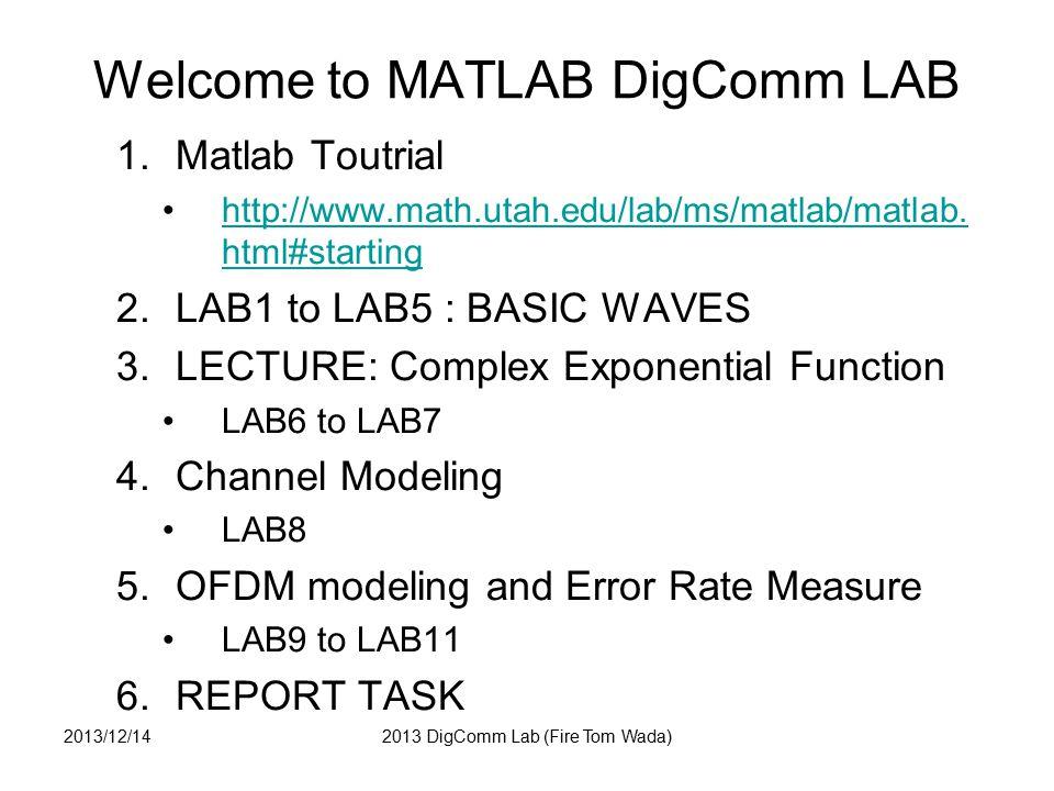 LAB1 : AM Write Amplitude Modulation (AM) program by MATLAB A = 1 + 0.5*cos(2*pi*1*t) fc =5Hz Use Sampling frequency fs = 100Hz 2013/12/142013 DigComm Lab (Fire Tom Wada)
