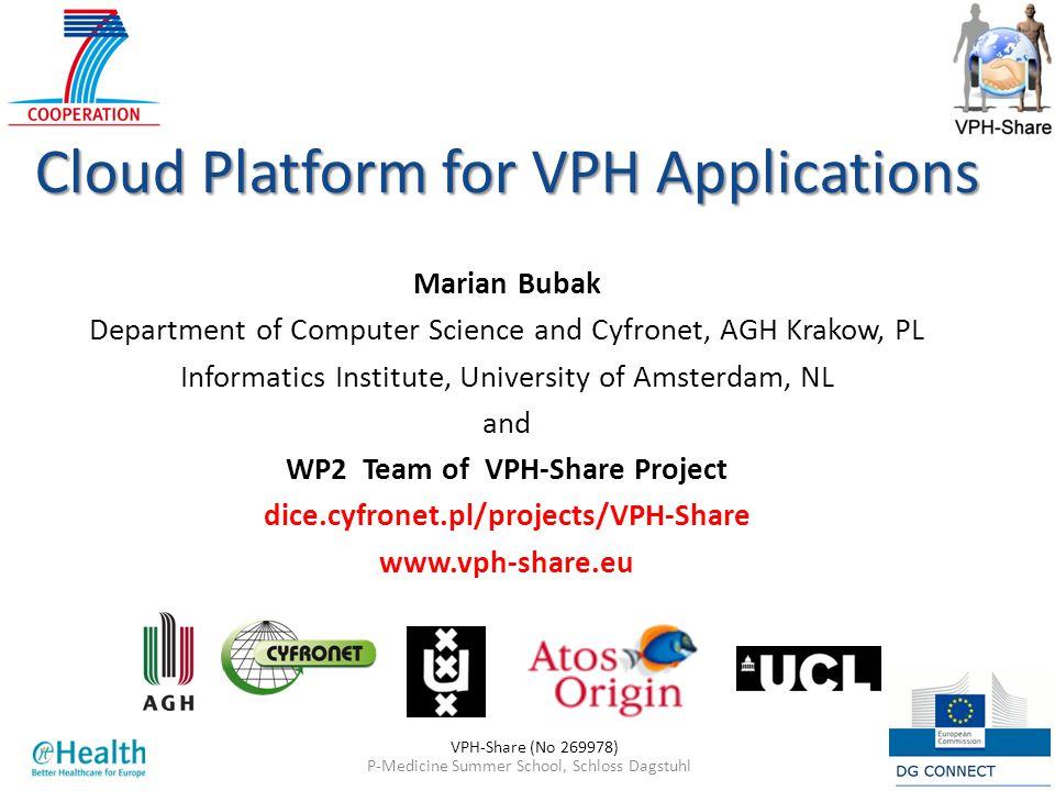 P-Medicine Summer School, Schloss Dagstuhl124 Jun 2013 Cloud Platform for VPH Applications Marian Bubak Department of Computer Science and Cyfronet, A