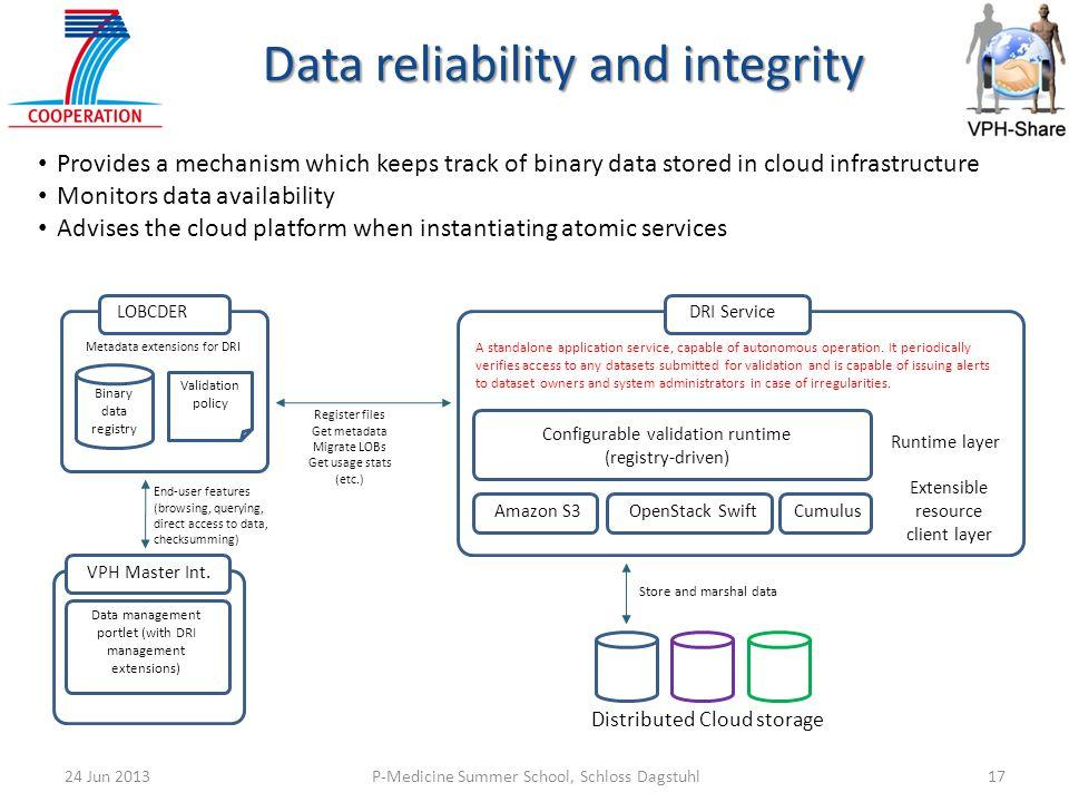 P-Medicine Summer School, Schloss Dagstuhl1724 Jun 2013 Provides a mechanism which keeps track of binary data stored in cloud infrastructure Monitors