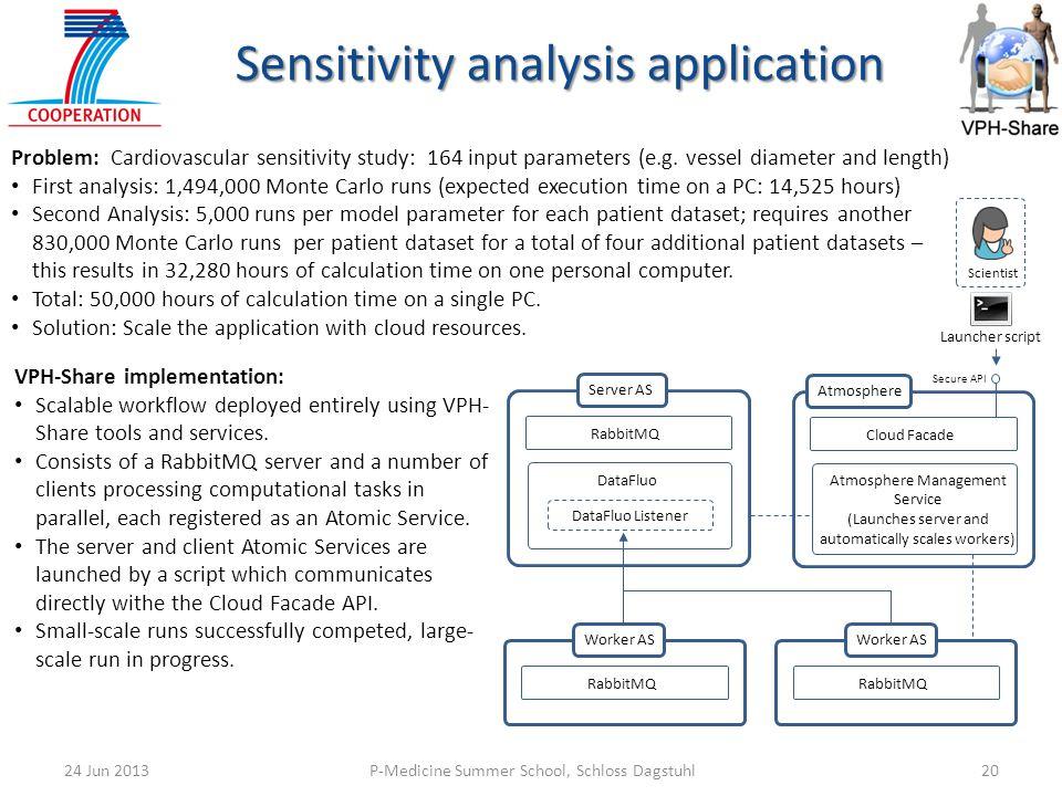 P-Medicine Summer School, Schloss Dagstuhl2024 Jun 2013 Sensitivity analysis application DataFluo Listener RabbitMQ DataFluo Server AS RabbitMQ Worker