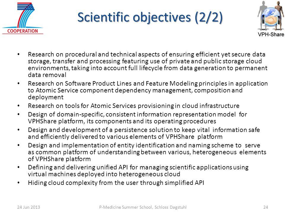 P-Medicine Summer School, Schloss Dagstuhl2424 Jun 2013 Scientific objectives (2/2) Research on procedural and technical aspects of ensuring efficient