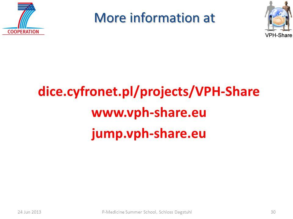 P-Medicine Summer School, Schloss Dagstuhl3024 Jun 2013 More information at dice.cyfronet.pl/projects/VPH-Share www.vph-share.eu jump.vph-share.eu
