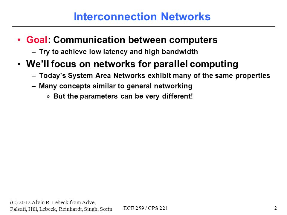 Compsci 221 / ECE 259 Advanced Computer Architecture II (Parallel Computer Architecture) Interconnection Networks Copyright 2012 Alvin R.
