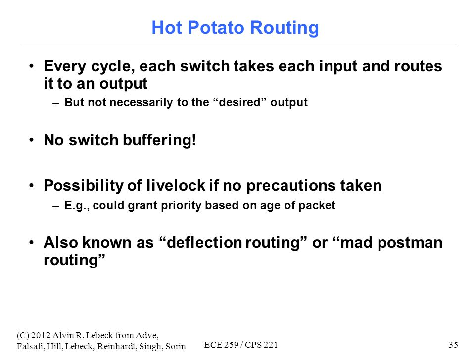 34 (C) 2012 Alvin R. Lebeck from Adve, Falsafi, Hill, Lebeck, Reinhardt, Singh, Sorin ECE 259 / CPS 221 (4) Adaptive Routing Essential for fault toler