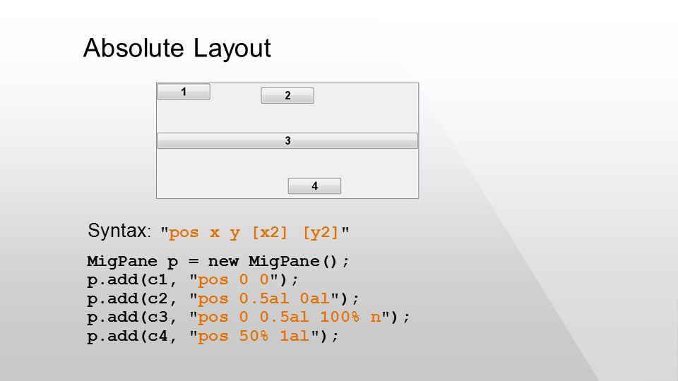 Absolute Layout MigPane p = new MigPane(); p.add(c1, pos 0 0 ); p.add(c2, pos 0.5al 0al ); p.add(c3, pos 0 0.5al 100% n ); p.add(c4, pos 50% 1al ); Syntax : pos x y [x2] [y2]