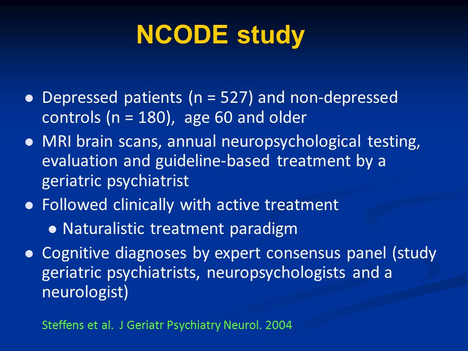 NCODE study Depressed patients (n = 527) and non-depressed controls (n = 180), age 60 and older MRI brain scans, annual neuropsychological testing, ev
