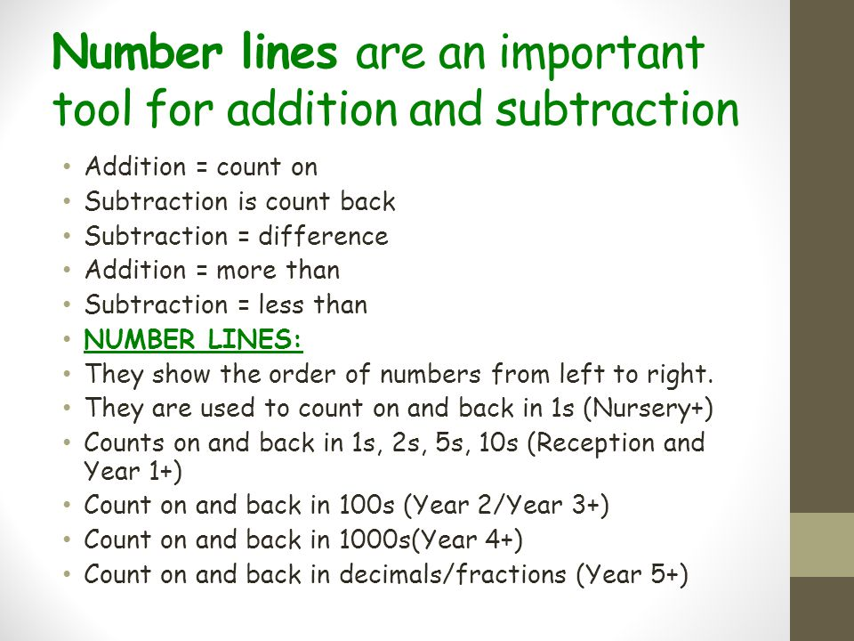 Number lines are an important tool for addition and subtraction Addition = count on Subtraction is count back Subtraction = difference Addition = more