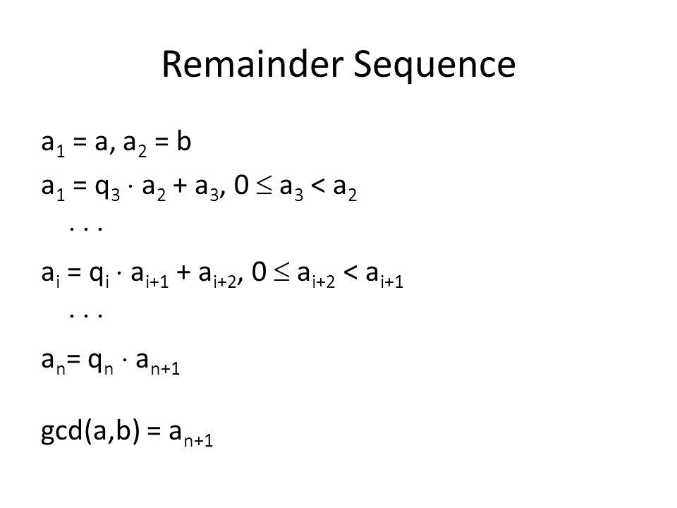 Remainder Sequence a 1 = a, a 2 = b a 1 = q 3  a 2 + a 3, 0  a 3 < a 2    a i = q i  a i+1 + a i+2, 0  a i+2 < a i+1    a n = q n  a n+1 gcd(a,b) = a n+1