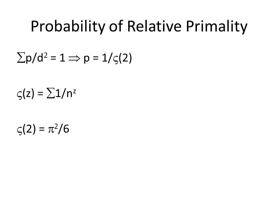 Probability of Relative Primality  p/d 2 = 1  p = 1/  (2)  (z) =  1/n z  (2) =  2 /6