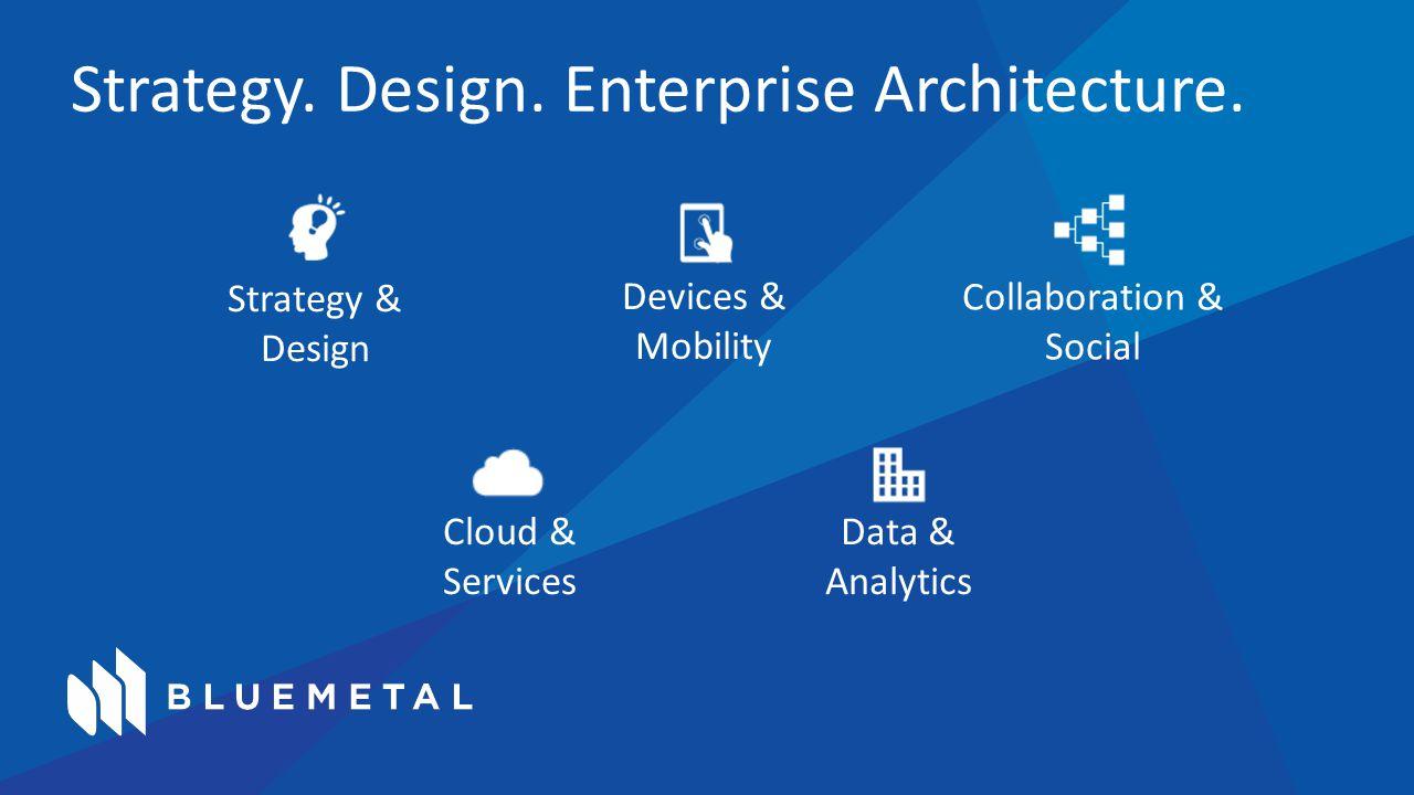 Strategy. Design. Enterprise Architecture. Strategy & Design Devices & Mobility Collaboration & Social Cloud & Services Data & Analytics