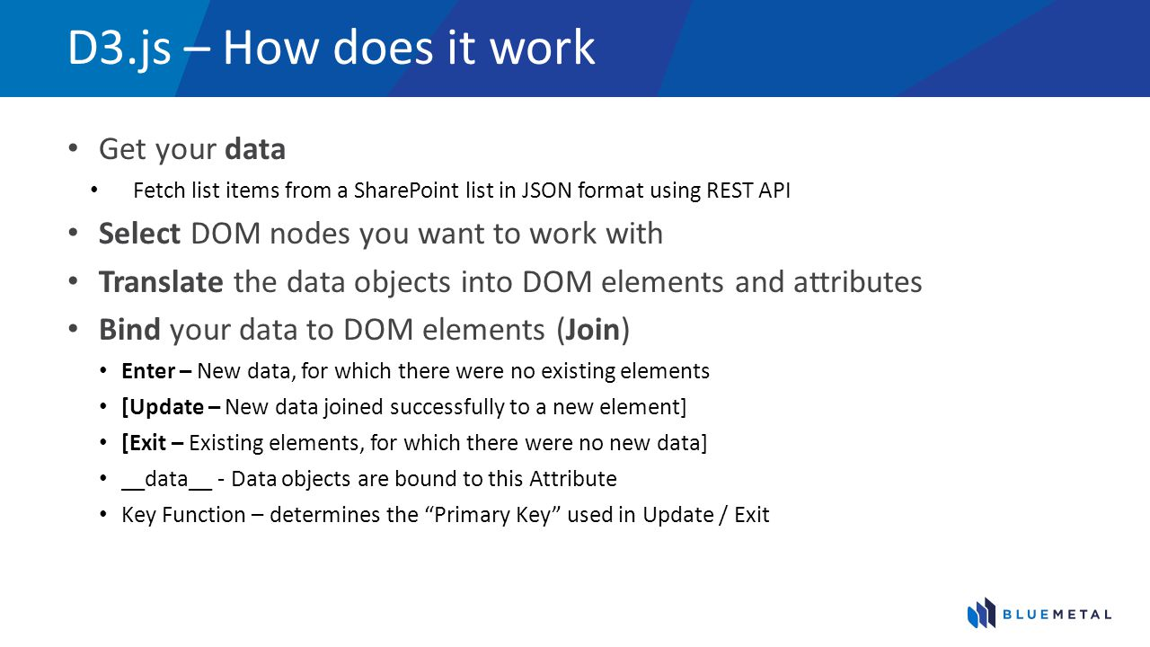 D3.js – How does it work Get your data Fetch list items from a SharePoint list in JSON format using REST API Select DOM nodes you want to work with Tr