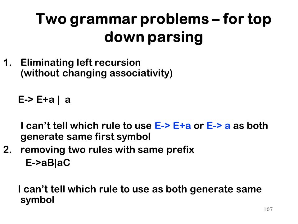 107 Two grammar problems – for top down parsing 1.Eliminating left recursion (without changing associativity) E-> E+a | a I can't tell which rule to u
