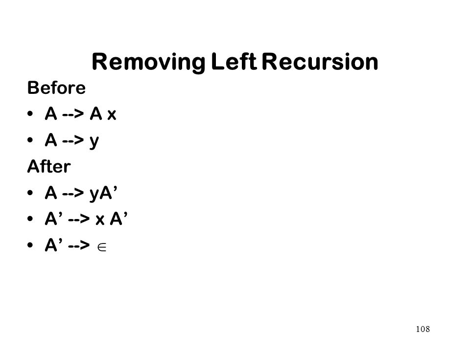 108 Removing Left Recursion Before A --> A x A --> y After A --> yA' A' --> x A' A' --> 