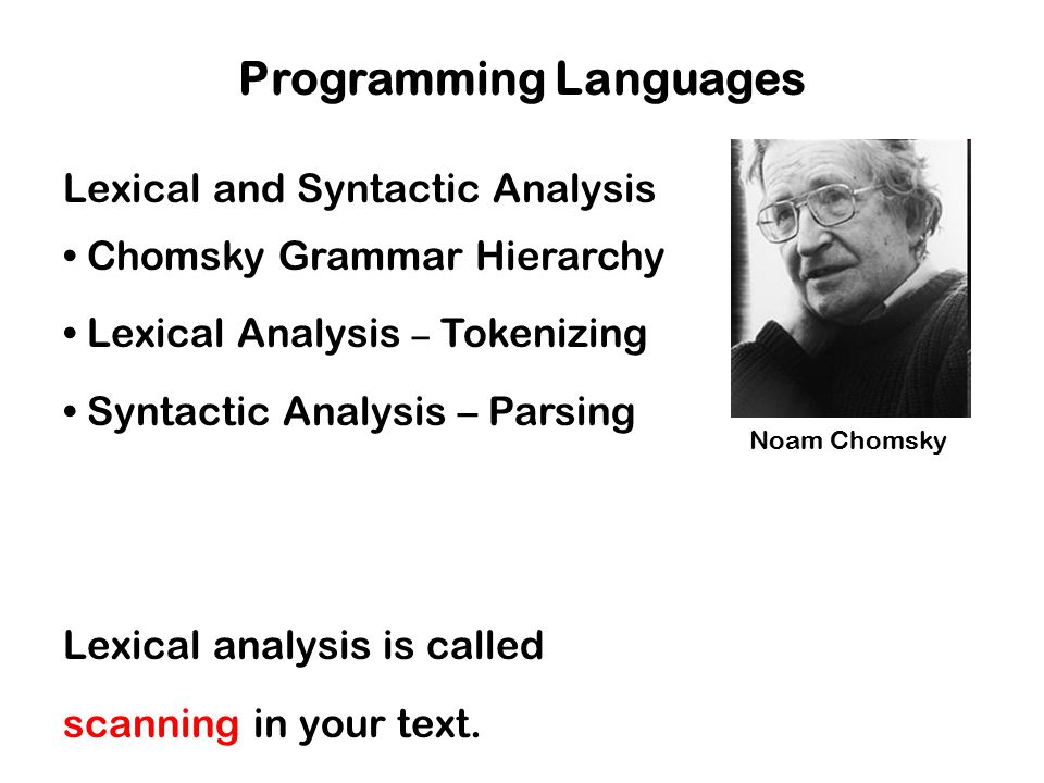 Lexical and Syntactic Analysis Chomsky Grammar Hierarchy Lexical Analysis – Tokenizing Syntactic Analysis – Parsing Lexical analysis is called scannin