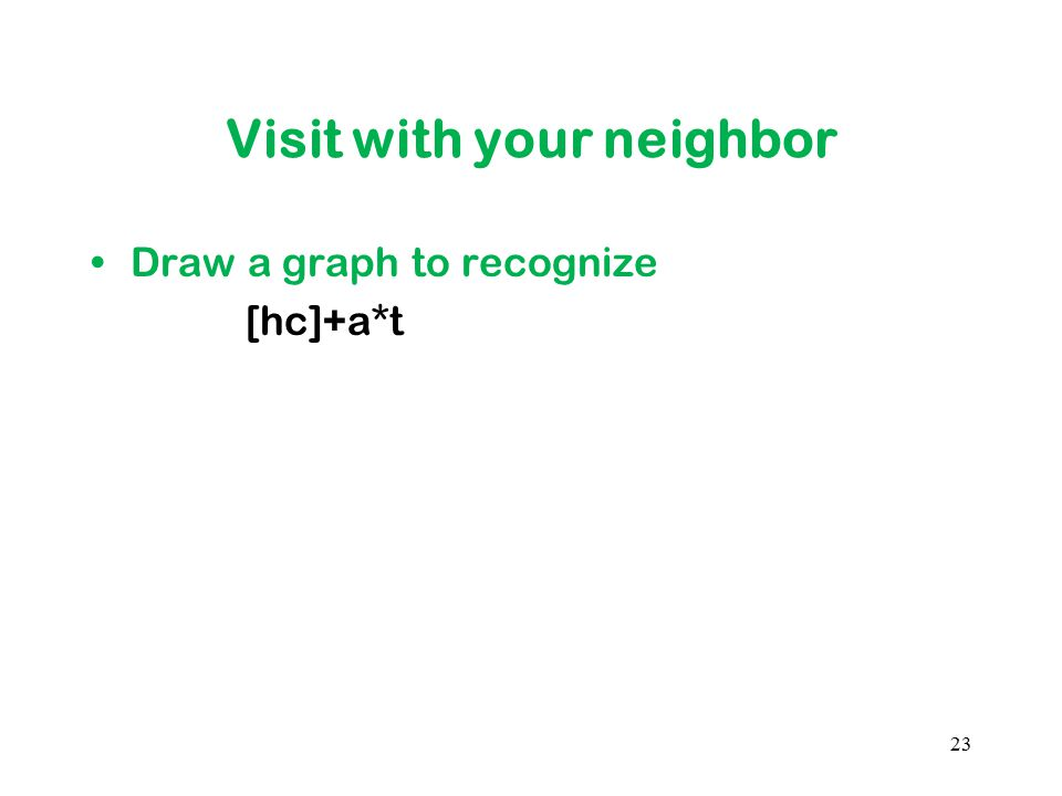 Visit with your neighbor Draw a graph to recognize [hc]+a*t 23