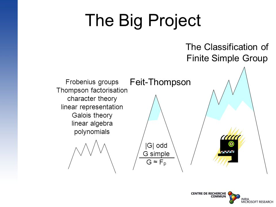 The Big Project The Classification of Finite Simple Group Feit-Thompson Frobenius groups Thompson factorisation character theory linear representation Galois theory linear algebra polynomials |G| odd G simple G ≈ F p