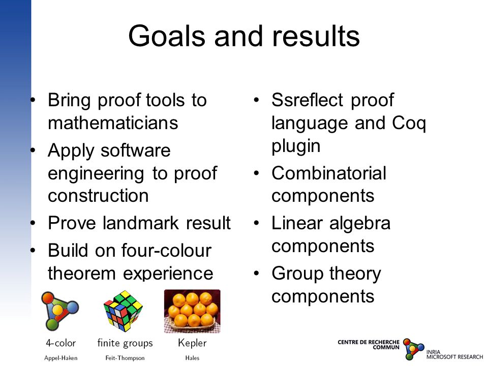 Goals and results Bring proof tools to mathematicians Apply software engineering to proof construction Prove landmark result Build on four-colour theorem experience Ssreflect proof language and Coq plugin Combinatorial components Linear algebra components Group theory components