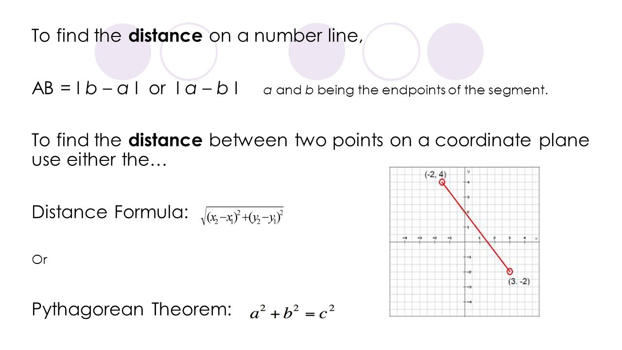 To find the distance on a number line, AB = I b – a I or I a – b I a and b being the endpoints of the segment. To find the distance between two points