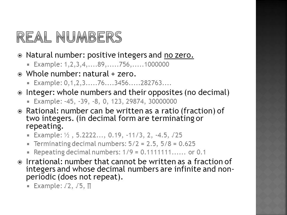  Natural number: positive integers and no zero.