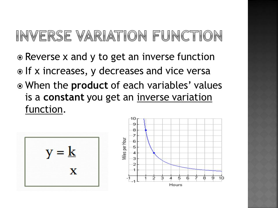  Reverse x and y to get an inverse function  If x increases, y decreases and vice versa  When the product of each variables' values is a constant you get an inverse variation function.