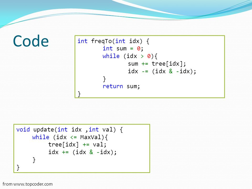 Code int freqAt(int idx){ int sum = tree[idx]; if (idx > 0) { int z = idx - (idx & -idx); y = idx - 1; while (y != z){ sum -= tree[y]; y -= (y & -y); } return sum; } from www.topcoder.com