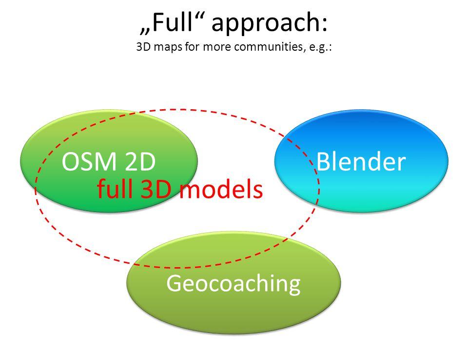 """""""Full"""" approach: 3D maps for more communities, e.g.: OSM 2D Blender Geocoaching full 3D models"""