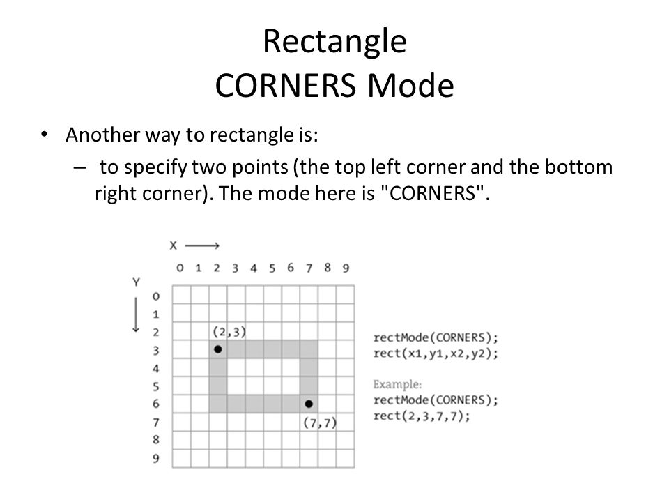 Rectangle CORNERS Mode Another way to rectangle is: – to specify two points (the top left corner and the bottom right corner). The mode here is