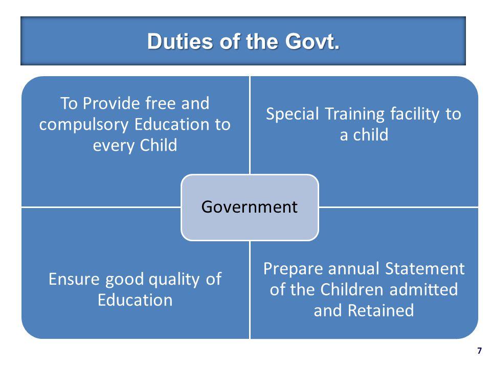 7 Duties of the Govt.