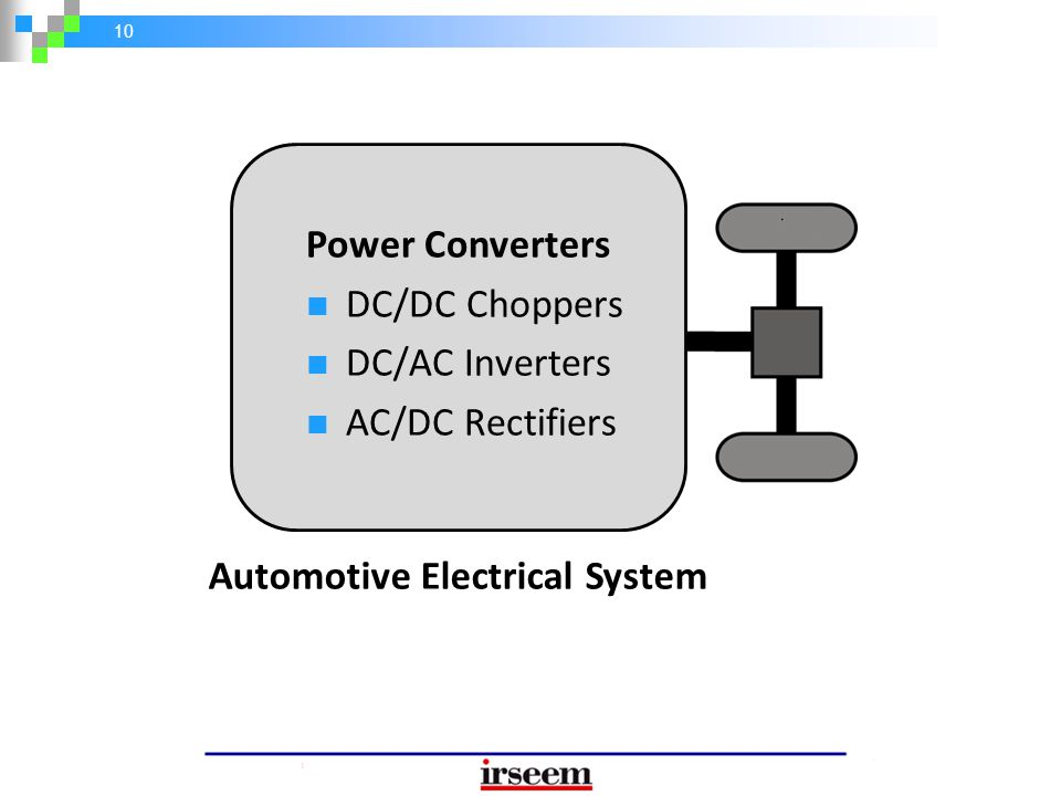 10 Power Converters DC/DC Choppers DC/AC Inverters AC/DC Rectifiers Automotive Electrical System