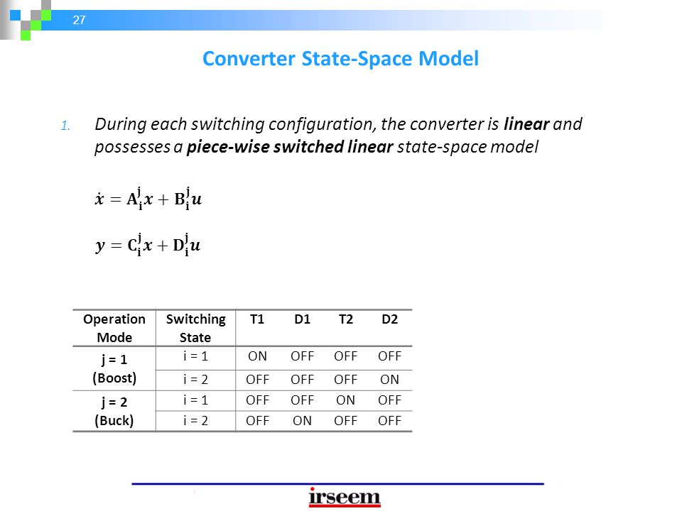 27 Converter State-Space Model 1. During each switching configuration, the converter is linear and possesses a piece-wise switched linear state-space