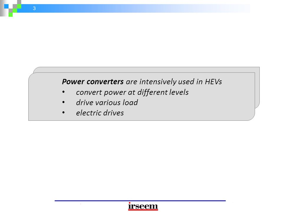 4 Intensive use of power converters in modern hybrid vehicles Need for efficient methods of condition monitoring and fault diagnosis Reliability of the automotive electrical power system