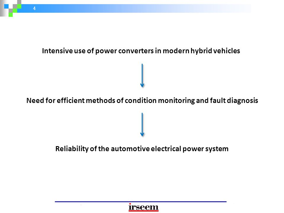 4 Intensive use of power converters in modern hybrid vehicles Need for efficient methods of condition monitoring and fault diagnosis Reliability of th