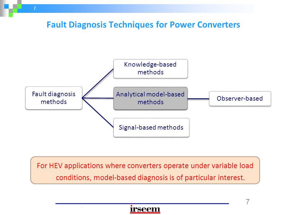 7 7 Observer-based Fault diagnosis methods Knowledge-based methods Analytical model-based methods Signal-based methods Fault Diagnosis Techniques for