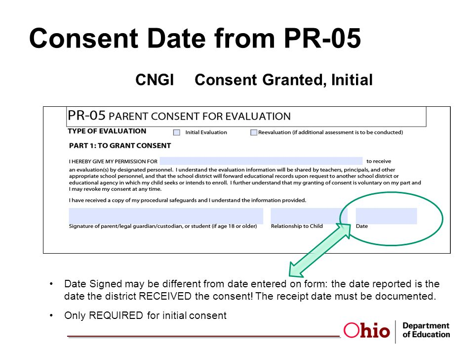 Consent Date from PR-05 CNGIConsent Granted, Initial Date Signed may be different from date entered on form: the date reported is the date the district RECEIVED the consent.