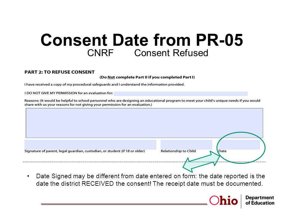 Consent Date from PR-05 CNRFConsent Refused Date Signed may be different from date entered on form: the date reported is the date the district RECEIVED the consent.