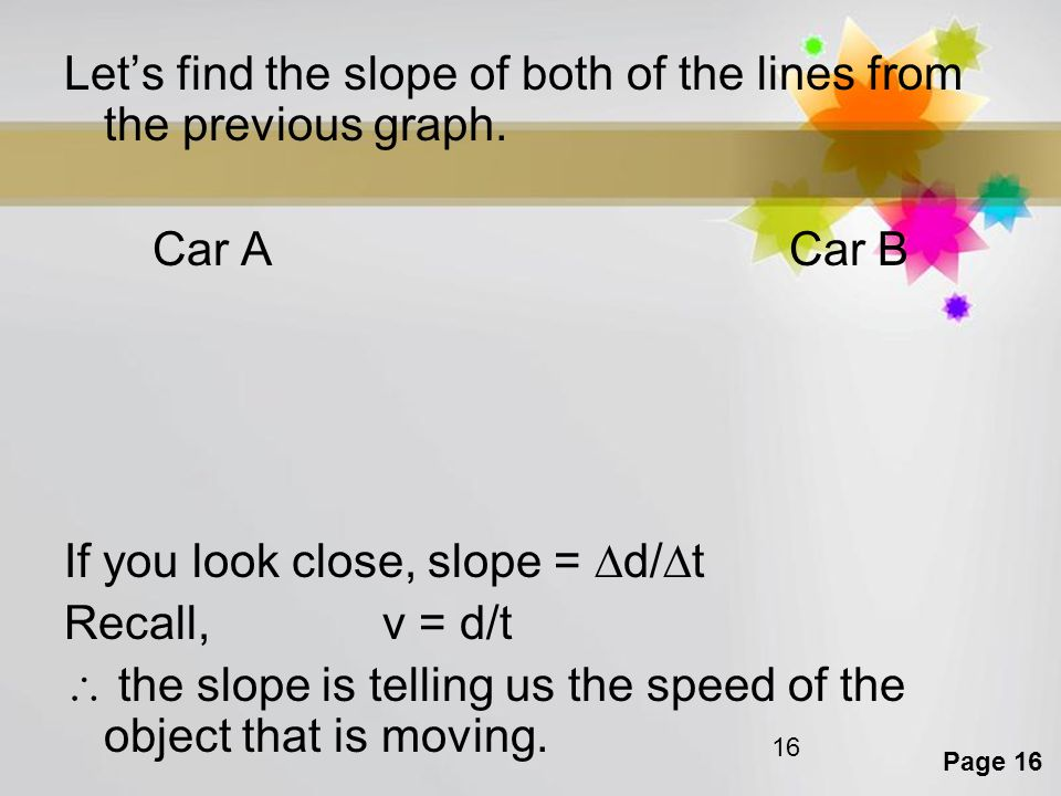 Page 16 16 Let's find the slope of both of the lines from the previous graph. Car ACar B If you look close, slope =  d/  t Recall, v = d/t  the slo