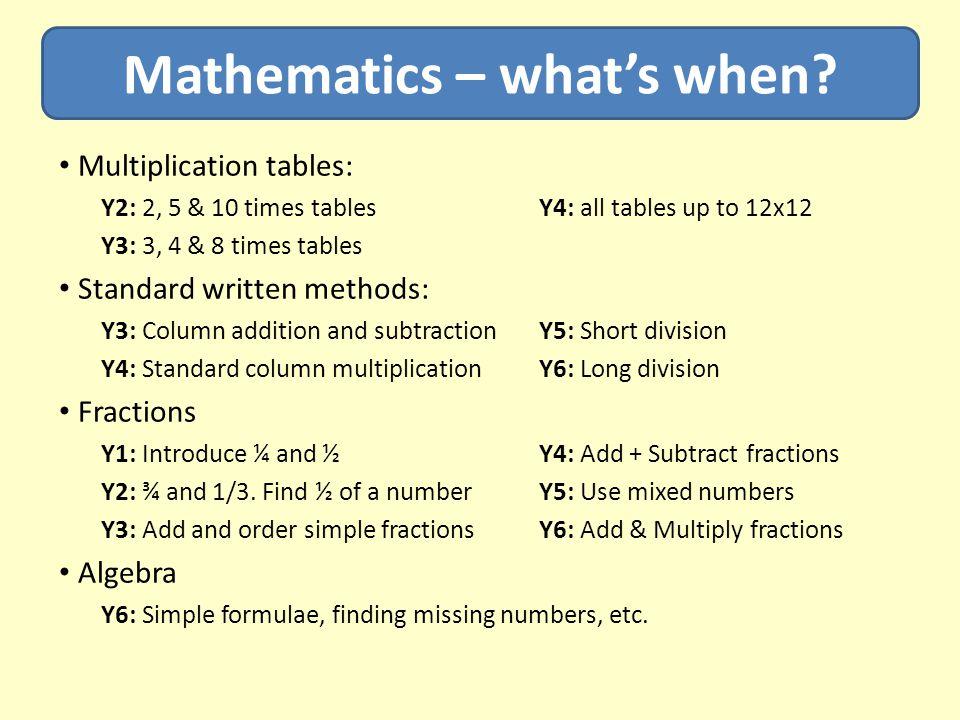Mathematics – what's when.