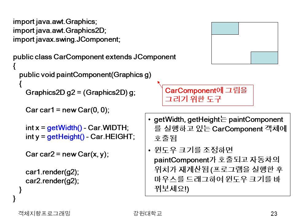 객체지향프로그래밍강원대학교 import java.awt.Graphics; import java.awt.Graphics2D; import javax.swing.JComponent; public class CarComponent extends JComponent { public void paintComponent(Graphics g) { Graphics2D g2 = (Graphics2D) g; Car car1 = new Car(0, 0); int x = getWidth() - Car.WIDTH; int y = getHeight() - Car.HEIGHT; Car car2 = new Car(x, y); car1.render(g2); car2.render(g2); } getWidth, getHeight 는 paintComponent 를 실행하고 있는 CarComponent 객체에 호출됨 윈도우 크기를 조정하면 paintComponent 가 호출되고 자동차의 위치가 재계산됨 ( 프로그램을 실행한 후 마우스를 드래그하여 윈도우 크기를 바 꿔보세요 !) CarComponent 에 그림을 그리기 위한 도구 23