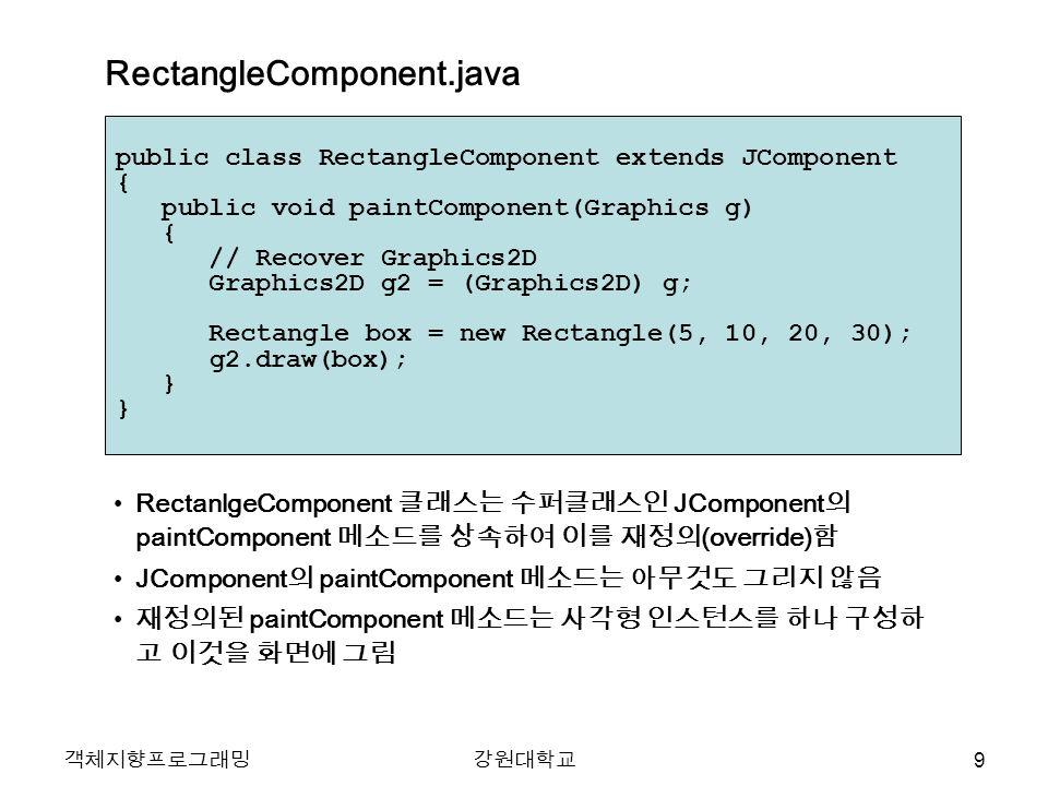 객체지향프로그래밍강원대학교 public class RectangleComponent extends JComponent { public void paintComponent(Graphics g) { // Recover Graphics2D Graphics2D g2 = (Graphics2D) g; Rectangle box = new Rectangle(5, 10, 20, 30); g2.draw(box); } } RectanlgeComponent 클래스는 수퍼클래스인 JComponent 의 paintComponent 메소드를 상속하여 이를 재정의 (override) 함 JComponent 의 paintComponent 메소드는 아무것도 그리지 않음 재정의된 paintComponent 메소드는 사각형 인스턴스를 하나 구성하 고 이것을 화면에 그림 RectangleComponent.java 9