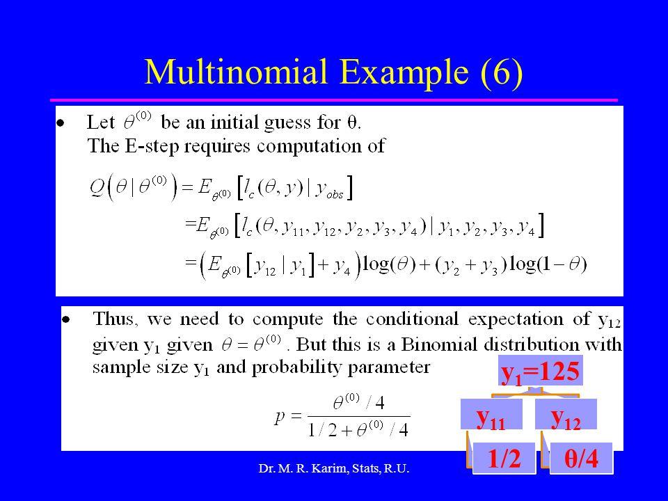 17 Multinomial Example (6) Dr. M. R. Karim, Stats, R.U. y 1 =125 y 11 1/2 y 12 θ/4