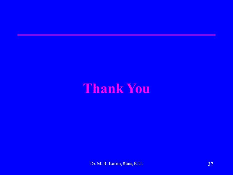 37 Dr. M. R. Karim, Stats, R.U. Thank You