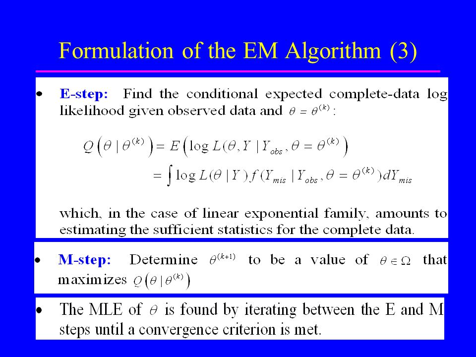 6 Formulation of the EM Algorithm (3) Dr. M. R. Karim, Stats, R.U.