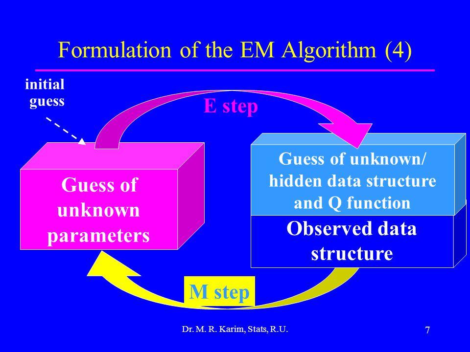 7 Formulation of the EM Algorithm (4) Dr.M. R. Karim, Stats, R.U.
