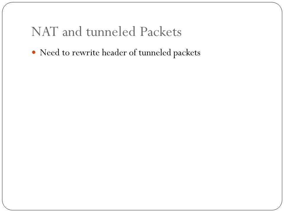 NAT and tunneled Packets Need to rewrite header of tunneled packets