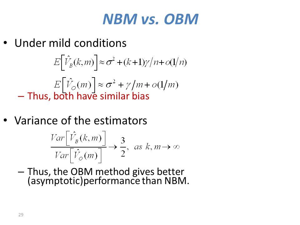 NBM vs. OBM 29 Under mild conditions – Thus, both have similar bias Variance of the estimators – Thus, the OBM method gives better (asymptotic)perform